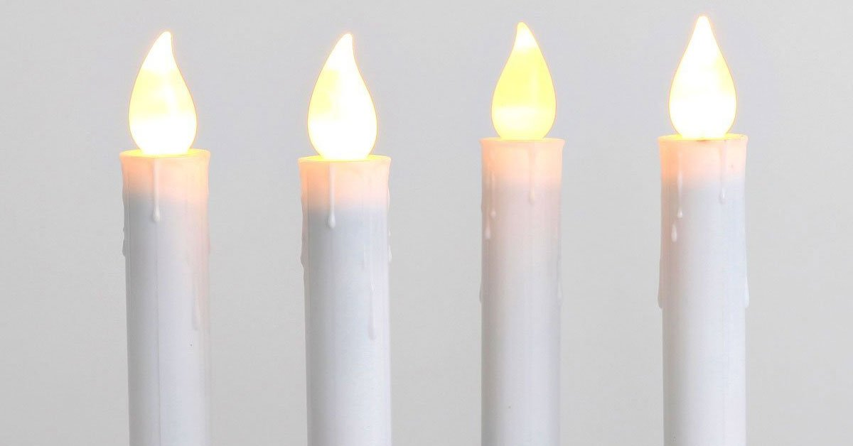 Flameless White Taper Window Candles with Timer and Remote