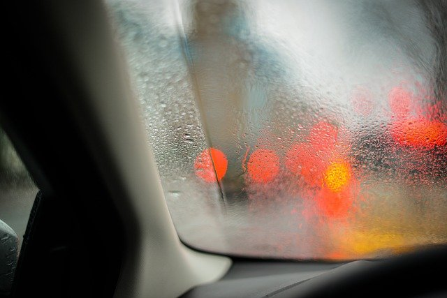Wet Window Car Lights Drops Rain Water Glass