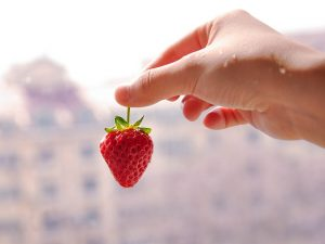 Holding a strawberrie