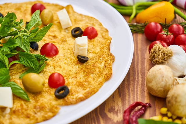 Omelet Yellow Egg Garlic Vegetables Healthy Meat