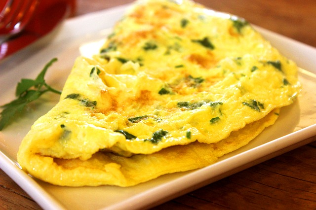 Kitchen Omelet Eggs Food Healthy Nutrition Eat