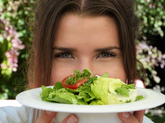 Salad Plate Girl Young Woman Eyes Health Beauty